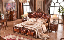 bedroom furniture heart-shaped headboard wood carving bed(China)