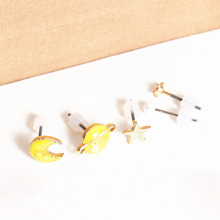 Doreen Box Ear Studs Earrings Gold color Yellow&White Planet Pentagram Star Enamel Sequins 12x 8mm - 3mm Dia.,1 Set(5 Pieces)(China)