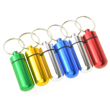 HOT-6pcs Waterproof Aluminum Pill Box Case Bottle Cache Drug Holder Keychain Container Black and red gold and silver blue and