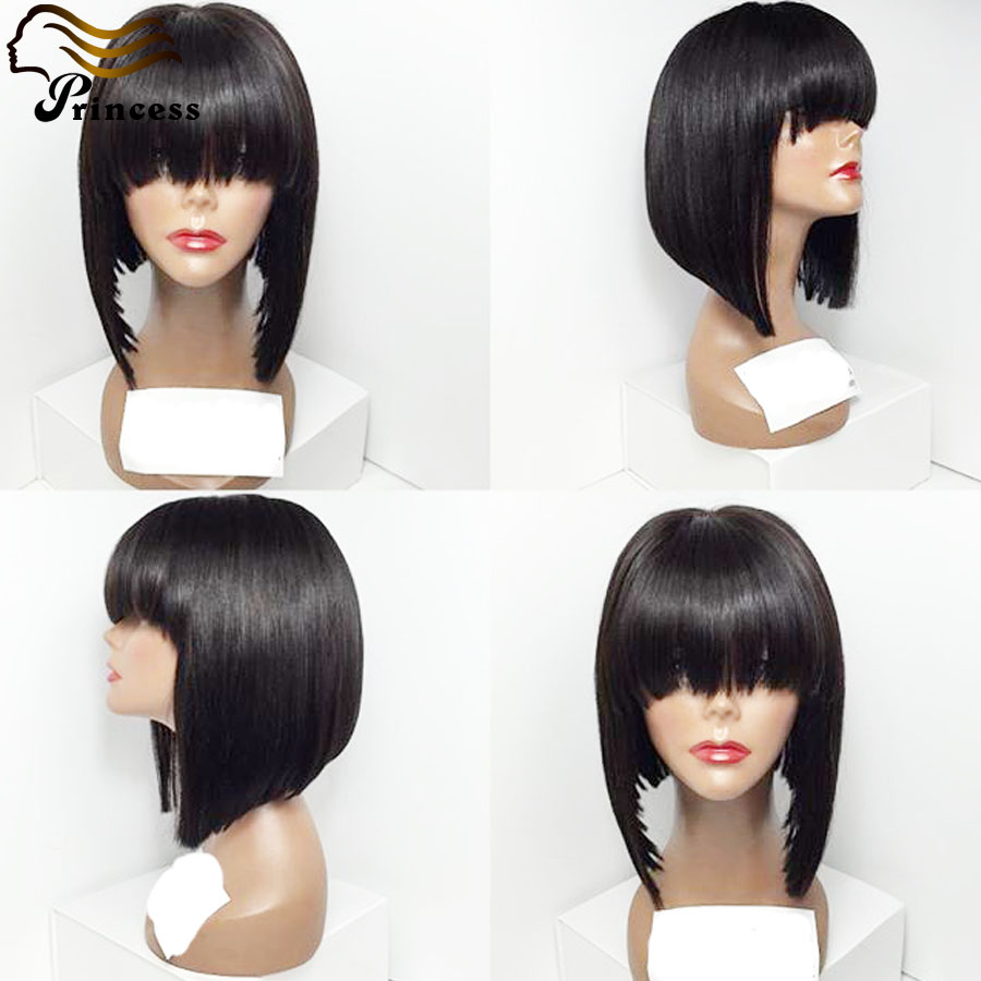 Top Quality Peruvian Human Hair Bob Wigs For Black Woman Silky Straight Bob Lace Front Wig With Bang Human Hair Full Lace Wigs<br><br>Aliexpress