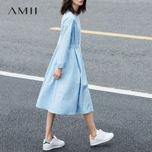 Amii Casual Women Dress 2017 Solid O-Neck Puff Sleeve Drap Mid-Calf Dress(China)