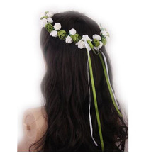 1Pcs Rose bride branch wedding head wreath Crown flowers floral Halo headpiece photography tool for adults (white and green)