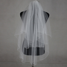 100% Real Picture 2017 Bridal Hand Veils Cathedral Beaded Veil Lace Wedding Veu De Noiva Longo Wedding Veil with Comb(China)
