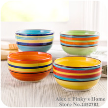 1pc Rainbow Bowl Hand-painted Ceramic Bowl Microwavable Rice Bowl Noodle Bowl(China)