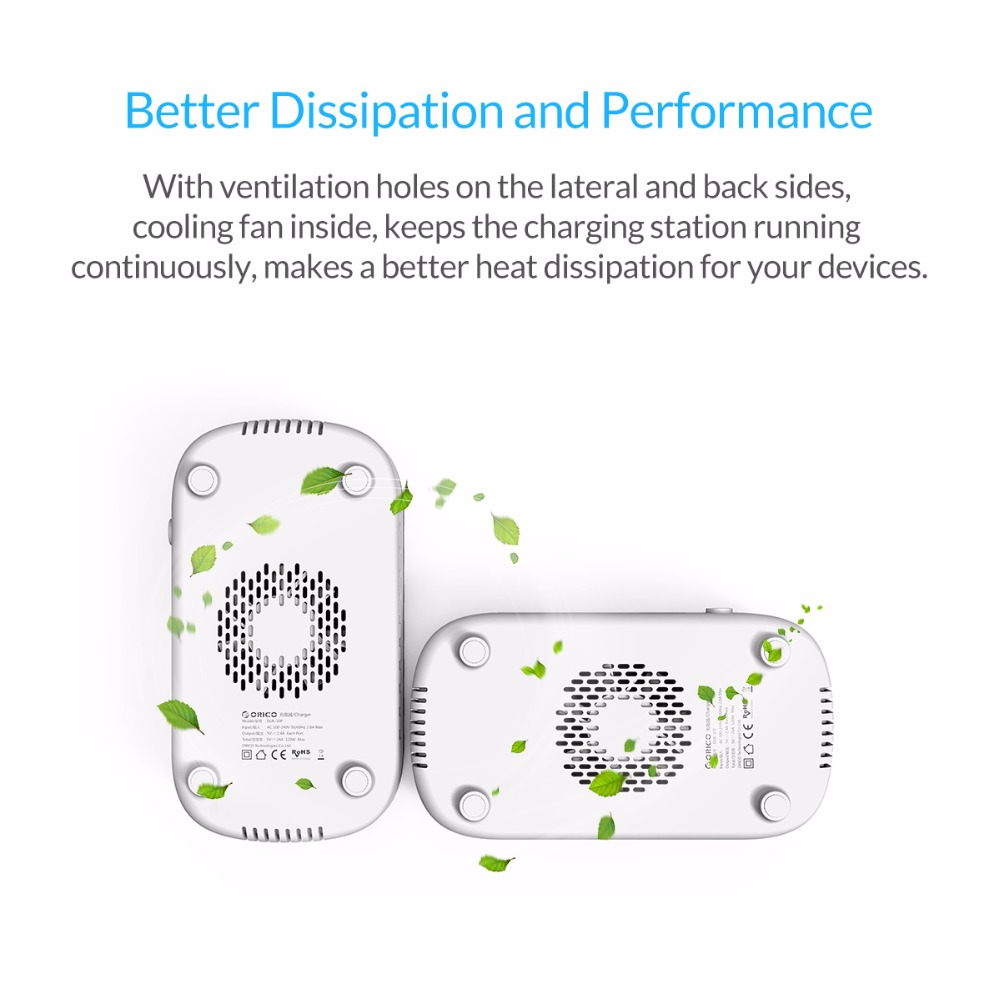 ORICO 10 Ports USB Charger Station Dock with Holder 120W 5V2.4A*10 USB Charging for Smart Phone Tablet PC Apply for Home Public