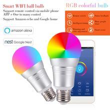 7W Wireless WiFi Smart LED Bulb E27 B22 E14 RGB Bulb Support Alexa Google Home Voice Control RGBW LED Lamp