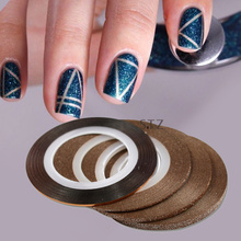 STZ 4pcs/lot 1mm 2mm 3mm Mixed Chocolate Colors Nail Striping Tape Line Nail Art Decor DIY Adhesive Sticker Accessory ND299