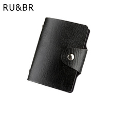 Promotion Black PU Leather Card Case Business Card Holder Men&Women Credit Card Bag ID Card Wallet With American&European Style(China)