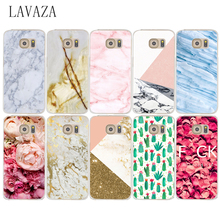 768e white marble and Roses Hard Transparent Phone Cases Cover for Samsung Galaxy S2 S3 S4 S5 & Mini S6 S7 S8  Edge Plus CASE