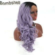 Bombshell Ombre Lavender Purple Long Body Wave Synthetic Lace Front Wig High Temperature Fiber Middle Parting For Black Women