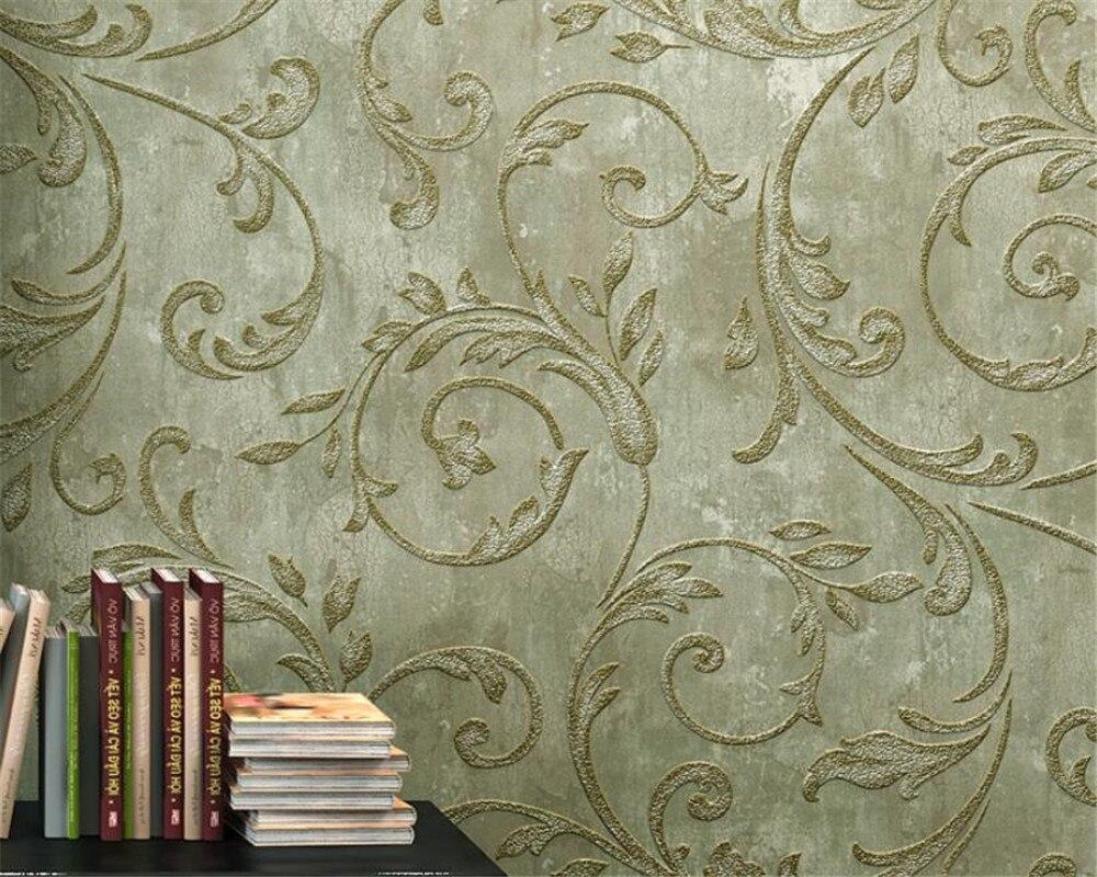 American wallpaper bedroom 3D wallpaper,luxury European living room TV background wall paper 3D green retro yellow Beibehang<br>