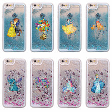 Glitter Liquid Watercolor Tinkerbell Mickey Minne Stitch Mermaid Princess Poof Bear  Hard Case For iPhone 7 7Plus 6 6S 6Plus 5