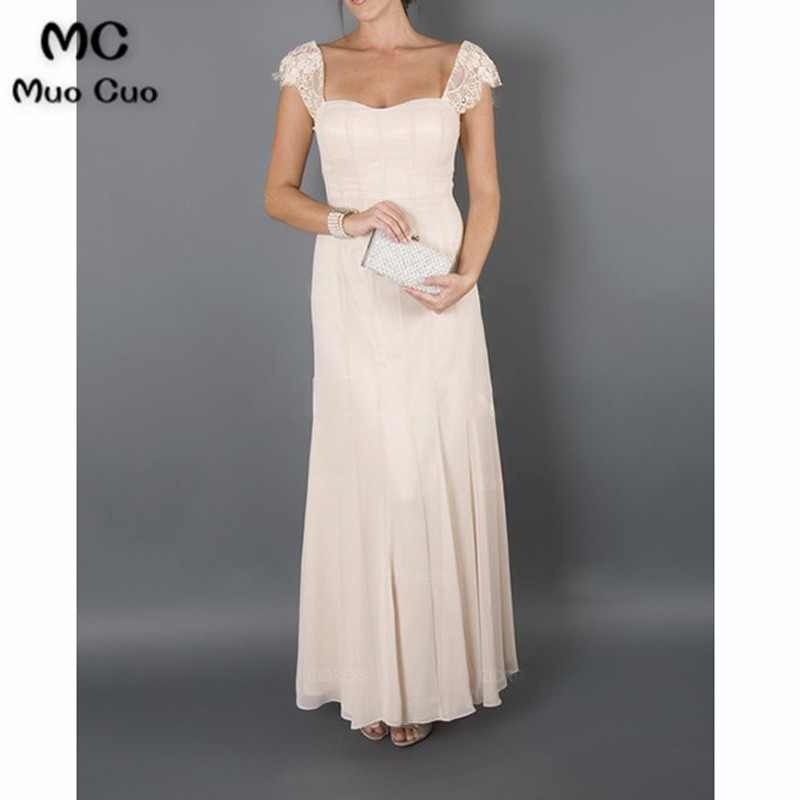 2017 Bridal Mother Dresses for Beach Wedding Long Cap Sleeves Wedding Guest Dresses Mother of the Groom Dresses with Lace Jacket5