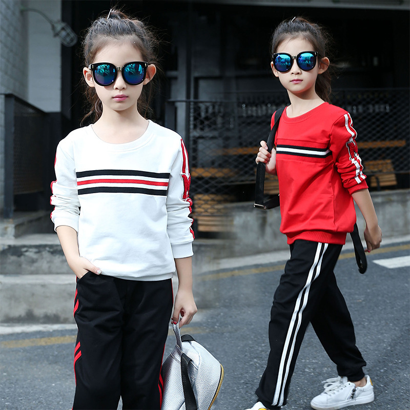 Spring Clothes New Pattern Girl Fashion Trend Round Neck Time Long Sleeve Girl Suit 2 Pieces Kids Clothing Sets<br>