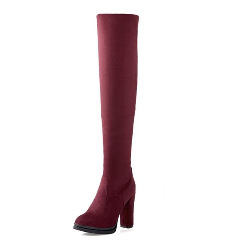 Size 34-43 Thigh High Boots Women Autumn Winter Over The Knee Boots Sexy Flock High Thick Heels Platform Round Toe Riding Boots<br><br>Aliexpress