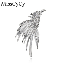 MissCyCy Fashion Plated Silver Pin Badge Animal Eagle Rhinestone Brooch Men Suit Accessories
