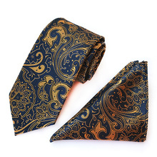 20 Style New Silk Paisley Gold Purple Neck Tie&Pocket Square Hanky Suit Set Wedding Party Business Tie TA01-22