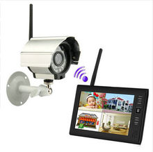 "7"" TFT LCD DVR Monitors 2.4GHz Digital Wireless 4CH CCTV DVR Day Night Security Camera Surveillance System (1 Cameras kit)"
