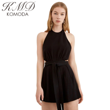 Buy KMD KOMODA 2017 Summer Women Halter Cold Shoulder Tie Waist Fashion Mine Romper Open Back Elegant Waist Cut Romper for $14.23 in AliExpress store
