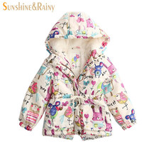 2017 Winter Girls Jackets And Coats Kids Graffiti Parkas Hooded Baby Girl Warm Outerwear Cartoon Animal Children's Jacket Coat