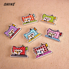 SHINE Wooden Sewing Buttons Scrapbooking Sewing Machine Mixed Two Holes 25 x 20mm 12 PCs Costura Botones bottoni botoes