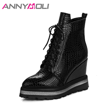 ANNYMOLI Winter Women Ankle Boots Platform Wedge Heels Boots Female High Heels Autumn Boots Shoes 2018 Size 42 Chaussure Femme