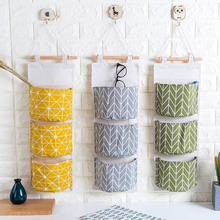 3 Pockets Wall Hanging Storage Bag Cotton Fabric Closet Organizer Storage Pocket Home Decor Hanging Bag