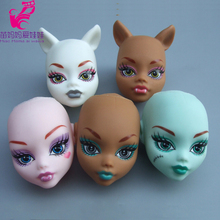 5pieces /lot Soft Plastic Wig Diy head Practice Makeup DIY doll Heads For Monster high doll