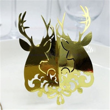 New 100pcs Laser Cut Elk Napkin Rings Serviette Holder Wedding Banquet Dinner Decor Towel Buckle For Table Decoration 7ZSH090