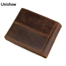 Short Genuine Leather Men Wallet brand solid leather Wallet Men Cow Leather purse small male purse card holders(China)
