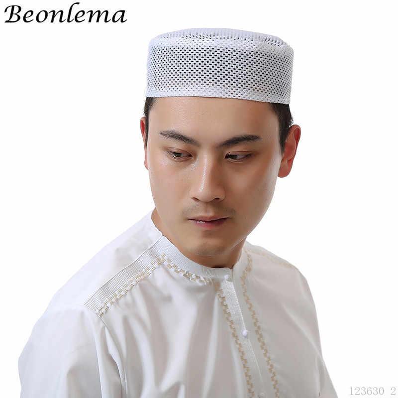 Beonlema los hombres musulmanes tapa de malla blanca Musulman Paryer sombrero  árabe turbante tapas Homme ropa 0c3277209bf