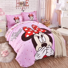 Authentic DISNEY Love Minnie Princess Pink Bedding Set 100% Cotton Duvet Cover Sheet Set Single Queen Size Kids Beddings