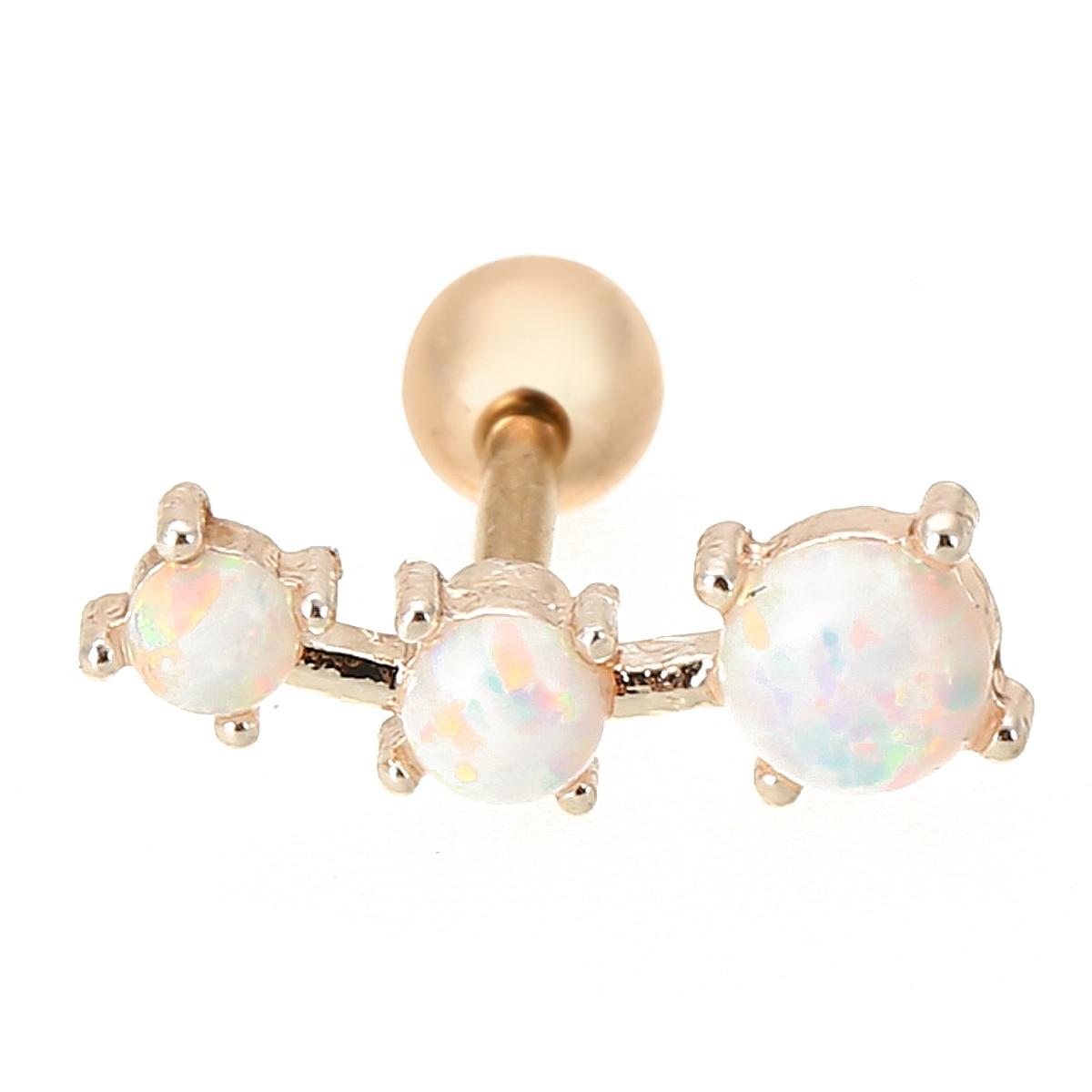 Shellhard Fashion Ear Piercing Jewelry Sexy Opal Crystal Cartilage Tragus Bar Barbell Ear Helix Tragus Earing 16g Body Jewellery