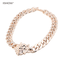 New Fashion jewelry Shiny Link Celebrity gift Style Zinc Alloy trendy statement Choker Necklace gold Chains necklaces(China)