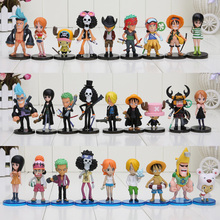 Free Shipping 5-7cm Japan Anime One Piece Movie Familys 9pcs/set PVC Action Figure Toys