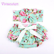 Toddler Newborn Baby Girls Bloomer Headband Set Cotton Shorts Ruffled Panties Gold Sliever Diapers Cover Cuteles Skirt(China)