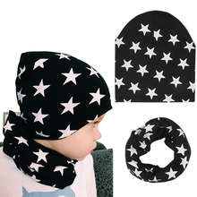 2 Pcs Star Pattern Baby Hat +Scarf Cute Kids Cap Baby Girl Boy Caps Soft Warm Cotton Beanie O Ring Neckerchief Scarves casquette(China)
