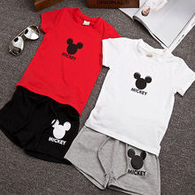 2016 Summer White/Red Cute Baby Kids Boys Clothes Cartoon Mouse Costume Tops T-shirt+Shorts Pants 2PCS Outfits Clothing  2-7Y