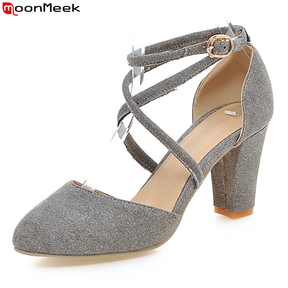 MoonMeek 2018 sexy ladies shoes high heels round toe square heel with buckle grey light blue color pumps women shoes<br>