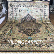 Yilong 9'x12' Oriental silk rugs big turkey pure 100 all silk carpet and rug handmade persian carpet (Z2001-9x12)(China)