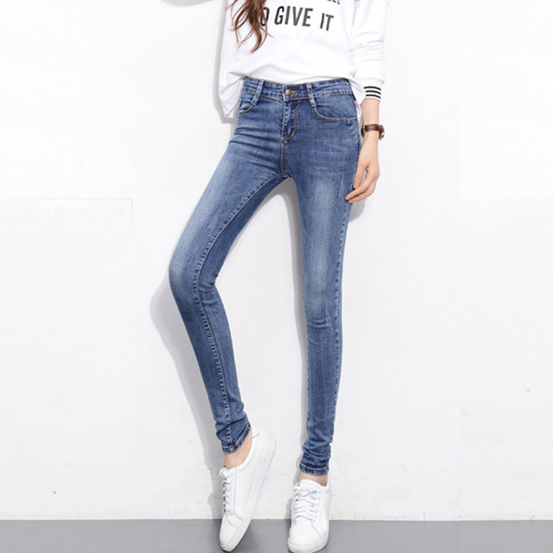 Fashion 2017  Full Length High Elastic Plus Size Women casual Mid Waist Skinny Jeans Pencil Denim pants woman jeansОдежда и ак�е��уары<br><br><br>Aliexpress