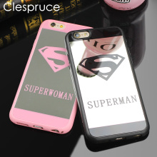 Clespruce Cell Phone Mirror Case For iPhone 7 6 6s Plus 5 5s Superman Case Soft Silicone Back Cover For iPhone 8 8 Plus Capa