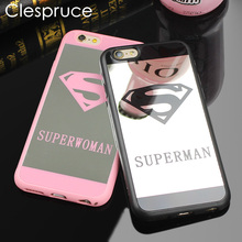 Clespruce Cell Phone Mirror Case For iPhone 7 6 6s Plus 5 5s Superman Case Soft Silicone Back Cover For iPhone 8 8 Plus Capa(China)