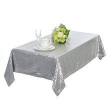 Direct Manufacturers Professional Custom Silver Wedding Sequin Piece Table Cloth Party Wedding Sequin Tablecloth 50x50 inches