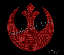 Free shipping  STAR WARS Rebel Logo Inspired Fan Art Rhinestone Iron On Transfer Hot Fix Bling