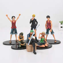 6pcs/lot One piece Figure Monkey D Luffy Zoro Sanji Nami Usopp Dramatic Showcase pvc figure action collection model toy