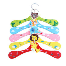 1 Pcs Dog Clothes Hanger Pet Cloth Hanger Wholesale High quality Dog Acessories For Pet or baby cloth Cute Cartoon wood hangers(China)