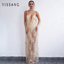 Yissang Elegant V Neck Maxi Beach Full Sexy Dress Embroidery Long Backless Floor Length Party Dresss Sleeveless Vestidos(China)