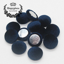 15mm 50pcs Navy Blue Korean Velvet Fabric Covered Round Home Sewing Buttons Flatback DIY Scrapbook Craft