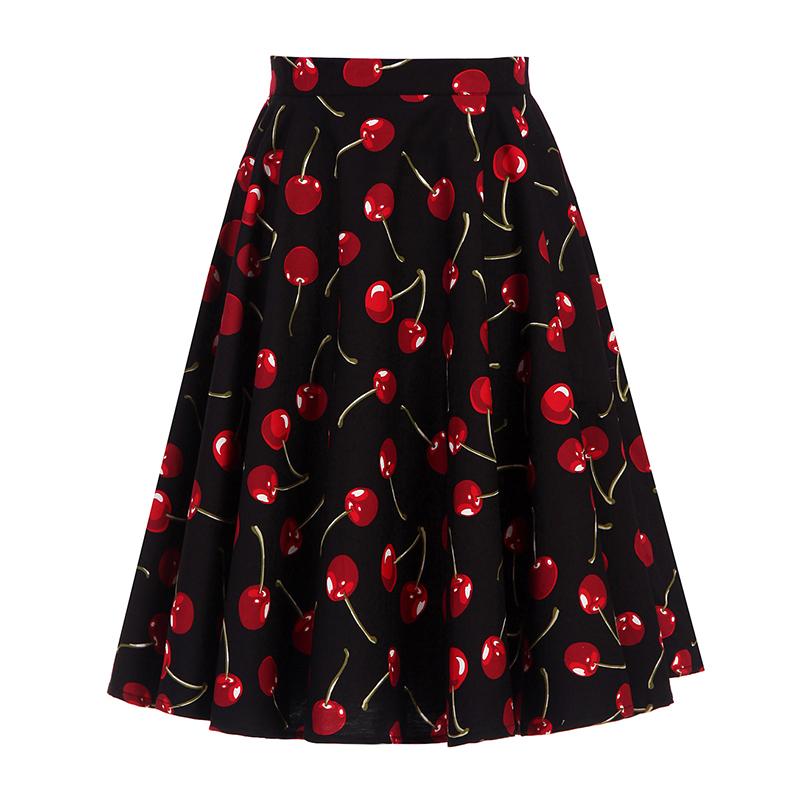 Kostlich 2017 Black Skirts Womens Cotton High Waist Cherry Print Elegant Midi Skirt Big Swing Hepburn 1950s Vintage Women Skirt (3)